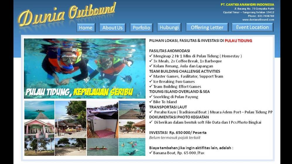 lokasi outbond pulau seribu, outbound pulau tidung, outbond pulau tidung