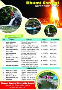 daftar harga sewa bumi cantigi, price list bumi cantigi, brosur harga camping, paket camping